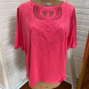 Chico's Size 3 Watermelon Embellished Top